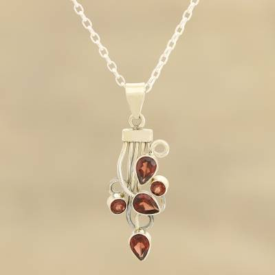 Garnet pendant necklace, 'Vine Glory' - Vine Pattern Garnet Pendant Necklace from India