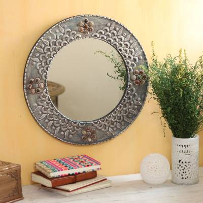 Aluminum and glass wall mirror, 'Mughal Glory' - Mughal-Inspired Round Aluminum and Glass Wall Mirror