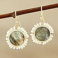 Labradorite and cultured pearl dangle earrings, 'Petal Glow' - Labradorite and Cultured Pearl Dangle Earrings from India