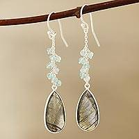 Labradorite and blue topaz dangle earrings, 'Late Sky' - 12-Carat Labradorite and Blue Topaz Dangle Earrings