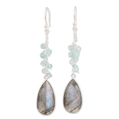 12-Carat Labradorite and Blue Topaz Dangle Earrings