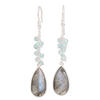 Labradorite and blue topaz dangle earrings, 'Late Sky' - 12-Carat Labradorite and Blue Topaz Dangle Earrings