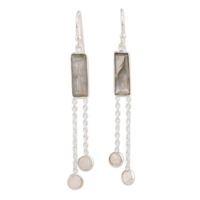 Labradorite and Rainbow Moonstone Dangle Earrings from India
