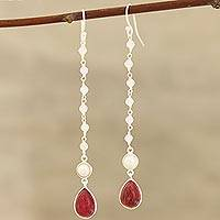 Multi-gemstone dangle earrings, 'Harmonious Glow' - Multi-Gemstone and Sterling Silver Dangle Earrings