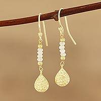 Gold plated rainbow moonstone beaded dangle earrings, 'Teardrop Beads' - Gold Plated Rainbow Moonstone Beaded Dangle Earrings