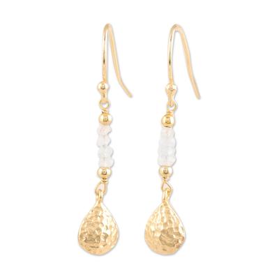 Gold plated rainbow moonstone beaded dangle earrings, 'Teardrop Beads' - Gold Plated Rainbow Moonstone Beaded Dangle Earrings