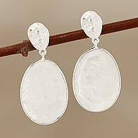 Rainbow moonstone dangle earrings, 'Misty Eggs' - 20-Carat Rainbow Moonstone Dangle Earrings from India