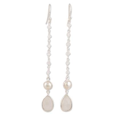 Rainbow moonstone and cultured pearl dangle earrings, 'Purest Harmony' - Rainbow Moonstone and Cultured Pearl Dangle Earrings