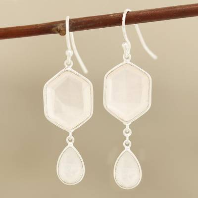 Rose quartz and rainbow moonstone dangle earrings, Gleaming Hexes
