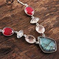 Multi-gemstone pendant necklace, 'Glittering Gemstones' - 21.5-Carat Multi-Gemstone Pendant Necklace from India