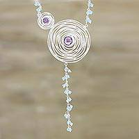 Amethyst and chalcedony pendant necklace, 'Glittering Spirals' - Spiral-Shaped Amethyst and Chalcedony Pendant Necklace