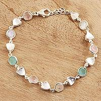 Multi-gemstone link bracelet, 'Fascinating Arrangement' - Faceted Multi-Gemstone Link Bracelet from India