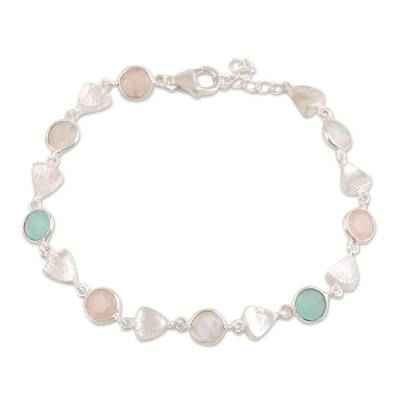 Multi-gemstone link bracelet, 'Fascinating Arrangement' - Faceted Multi-Gemstone Link Bracelet from India