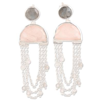 Rose quartz and labradorite dangle earrings, 'Half-Moon Rain' - Half-Circle Rose Quartz and Labradorite Dangle Earrings