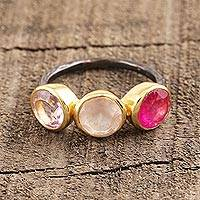 Gold accent multi-gemstone cocktail ring, 'Pretty Trio' - Gold Accent Amethyst & Rose Quartz Cocktail Ring from India
