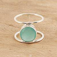 Chalcedony single-stone ring, 'Aqua Bliss' - 4.5-Carat Chalcedony Single-Stone Ring from India