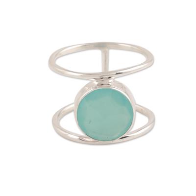 Chalcedony single-stone ring, 'Aqua Bliss' - 4.5-Carat Chalcedony Single-Stone Ring from India
