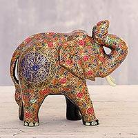 Papier mache sculpture, 'Colorful Floral Elephant' - Colorful Floral Papier Mache Elephant Sculpture from India
