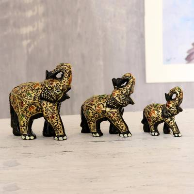Papier mache sculptures, 'Joyful Elephant Family' (set of 3) - Hand-Painted Papier Mache Elephant Sculptures (Set of 3)