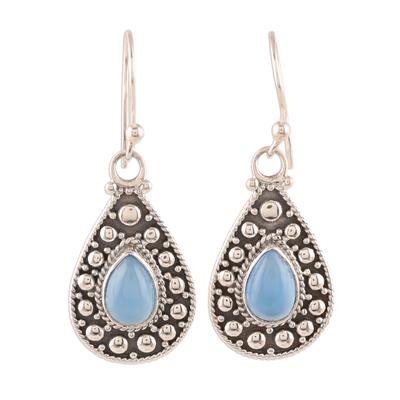 Teardrop Blue Chalcedony Dangle Earrings from India