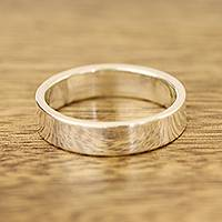 Sterling silver band ring, 'Simple Etude' - High-Polish Sterling Silver Band Ring from India