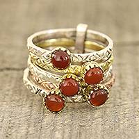 Onyx multi-stone ring, 'Alluring Globes' - Red-Orange Onyx Multi-Stone Ring from India