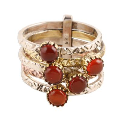 Red-Orange Onyx Multi-Stone Ring from India