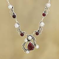 Garnet and cultured pearl link necklace, 'Radiant Garland' - Leaf Pattern Garnet and Cultured Pearl Link Necklace