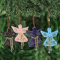Wood ornaments, 'Seasonal Message' (set of 4) - Assorted Mango Wood Angel Ornaments from India (Set of 4)