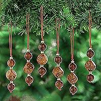 Wood beaded ornaments, 'Luck' (set of 3) - Dice-Themed Wood Beaded Ornaments from India (Set of 3)