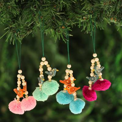 Wood beaded ornaments, 'Festive Song' (set of 4) - Bird-Themed Wood Beaded Ornaments from India (Set of 4)