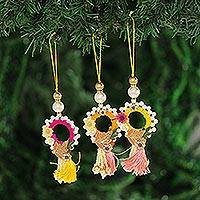 Beaded ornaments, 'Dancing Wreaths' (set of 3) - Beaded Wreath Ornaments from India (Set of 3)