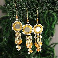 Beaded ornaments, 'Mirrored Suns' (set of 3) - Mirrored Beaded Ornaments from India (Set of 3)