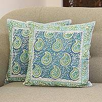 Cotton cushion covers, 'Mughal Paisleys' (16 inch, pair) - Paisley Motif Cotton Cushion Covers (16 in. Pair)