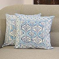 Cotton cushion covers, 'Mughal Vines' (16 inch, pair) - Vine Motif Cotton Cushion Covers from India (16 in. Pair)