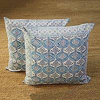 Cotton cushion covers, 'Mughal Vines' (26 inch, pair) - Vine Motif Cotton Cushion Covers from India (26 in. Pair)