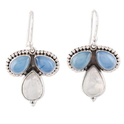 Teardrop Chalcedony and Rainbow Moonstone Dangle Earrings