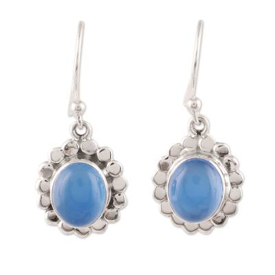 Oval Chalcedony Dangle Earrings Crafted in India