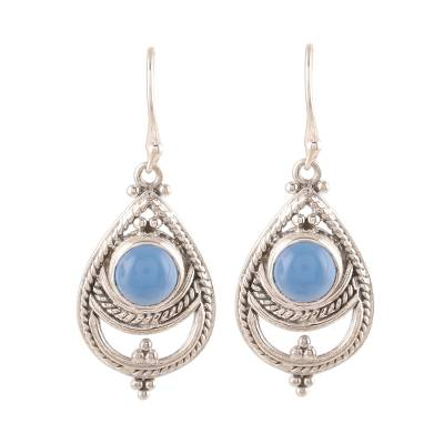 Rope Pattern Chalcedony Dangle Earrings from India