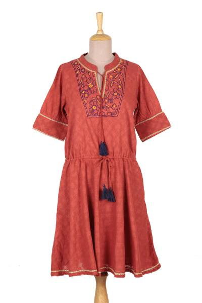 Floral Embroidered Cotton A-Line Dress in Paprika from India