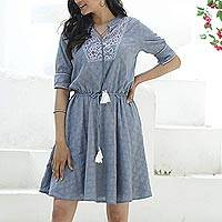Cotton A-line dress, 'Delhi Spring in Wedgwood' - Cotton A-Line Summer Dress in Wedgwood Blue