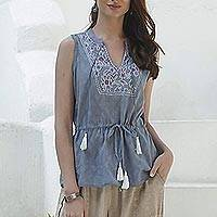 Embroidered sleeveless cotton blouse, 'Delhi Spring in Wedgwood' - Sleeveless Cotton Blouse in Blue from India