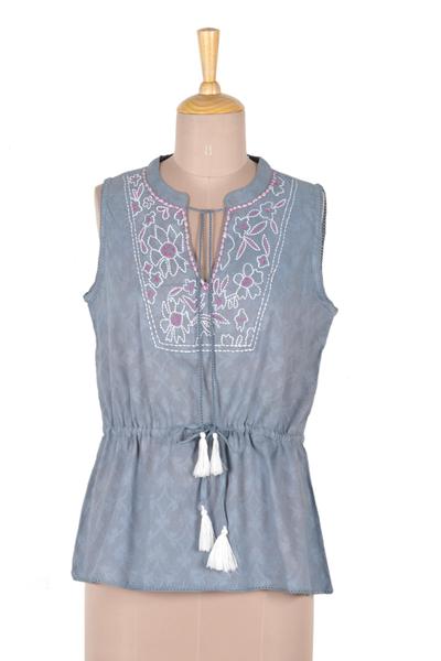 Embroidered sleeveless cotton blouse, 'Delhi Spring in Wedgwood' - Sleeveless Cotton Blouse in Blue from India