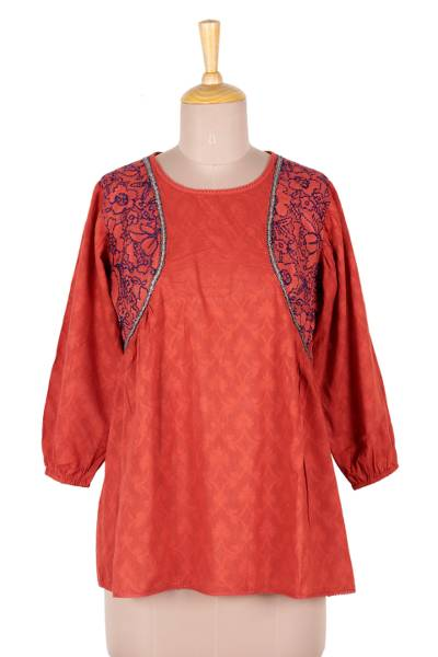 Cotton top, 'Delhi Spring in Russet' - Embroidered Cotton Top in Paprika from India