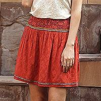 Embroidered cotton skirt, 'Assam Terracotta' - Terracotta Cotton Embroidered Short Skirt