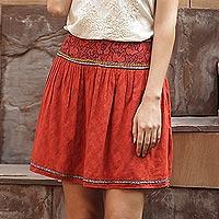 Embroidered cotton skirt, 'Assam Terracotta'