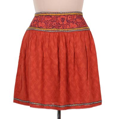 Embroidered cotton skirt, 'Assam Terracotta' - Terracotta Cotton Embroidered Short Skirt