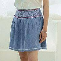 Embroidered cotton miniskirt, 'Delhi Spring in Wedgwood' - Feminine Blue Miniskirt in Embroidered Cotton