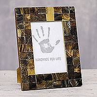 Resin mosaic photo frame, 'Brown Mist' (4x6) - Brown Resin Mosaic Photo Frame from India (4x6)