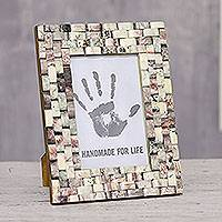 Resin mosaic photo frame, 'Love of the Earth' (4x6) - Resin Mosaic Photo Frame from India (4x6)